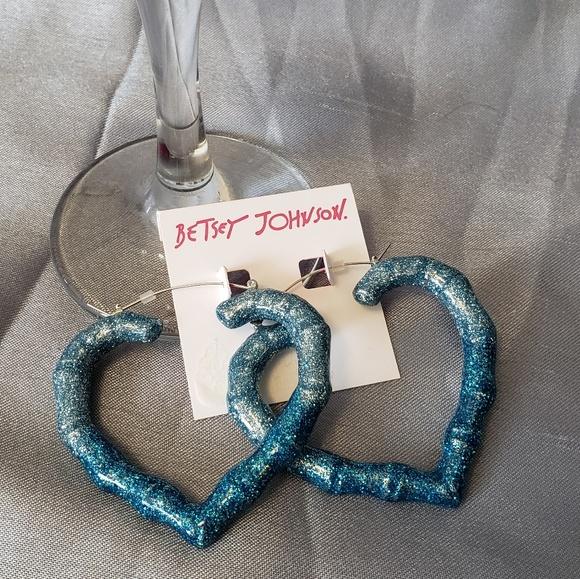 Betsey Johnson Jewelry - Betsey Johnson Blue Heart Earrings